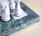 "The 16"" Marble Green and White Chess Set"