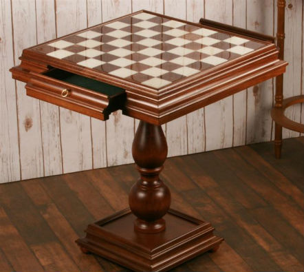 "The 23.5"" Alabaster Chess Table - Opened Drawers"