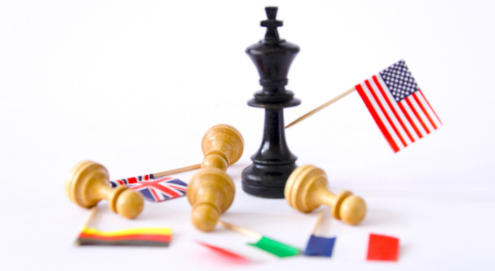 Chess Pieces And Flags of America, Italy, England, France And Germany