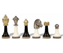 Black & White Wood And Metal chess Set Pieces