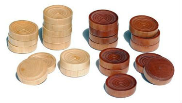 Checkers Pieces of The US Made Round Pedestal Game Table