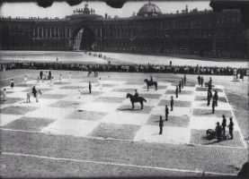 Giant Chess Game in St. Petersburg, Russia