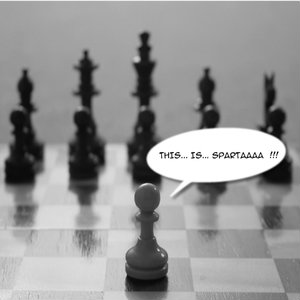"Chess Pawn Against A Chess Set Shouts ""This is Sparta!"""