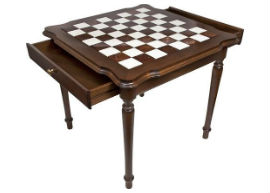 The Genuine Italy Alabaster Chess Table With Opened Drawers
