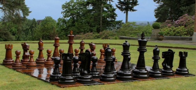 A Giant Chess Set In The Backyard