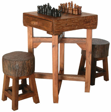 GroovyStuff Teak Hill Country Chess Table Set with Stools.