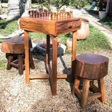 GroovyStuff Teak Hill Country Chess Table Set with Stools - Outdoor