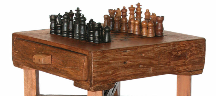GroovyStuff Teak Hill Country Chess Table With Chess Pieces