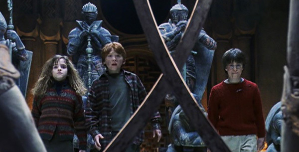 Harry, Hermione & Ron Facing The Chess Pieces