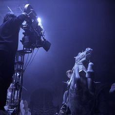 Ron on the knight chess piece during the filming