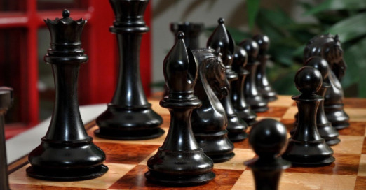 """The Mammoth Ivory and Genuine Ebony Collector Series Luxury Chess Set - 4.4"""" King - The Black Ebony Pieces"""