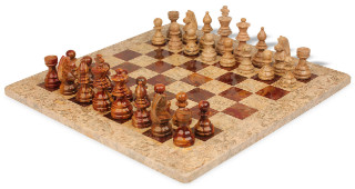 "Coral Stone & Red Marble Staunton Chess Set with 16"" Board"