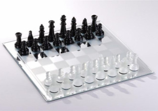 The Black and White Mirror Board Chess Set