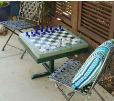 Redding Custom Concrete Chess Table With Chairs