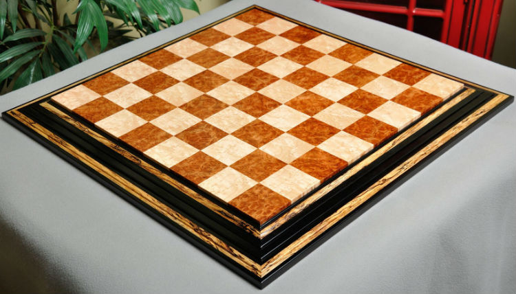 The Signature Contemporary Chess Board – Red Amboyna / Bird's Eye Maple.