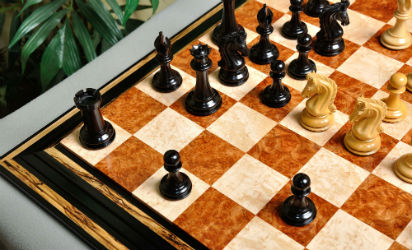 The Red Amboyna / Bird's Eye Maple Signature Contemporary Chess Board Set.