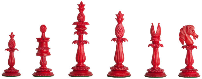 The Lund Anglo-Indian Reproduction Luxury Bone Chess Pieces - Red Color