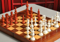 The Lund Anglo-Indian Reproduction Luxury Bone Chess Pieces Set