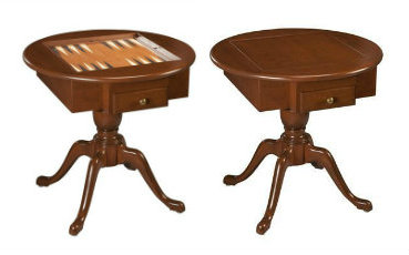 US Made Round Pedestal Game Table Solid Cherry Wood - 3 in 1