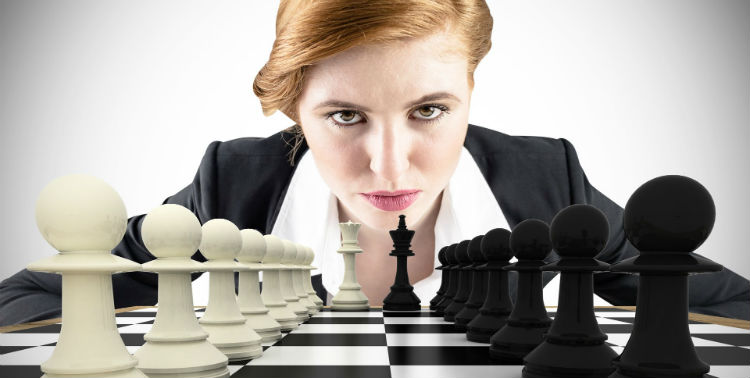 A Chess set & A Woman Chess Player