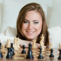 Judit Polgar & Chess Set