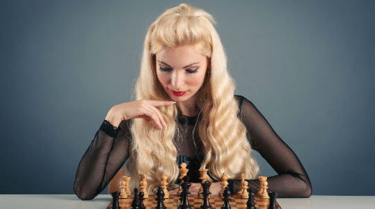 Women Chess Player & Chess Set