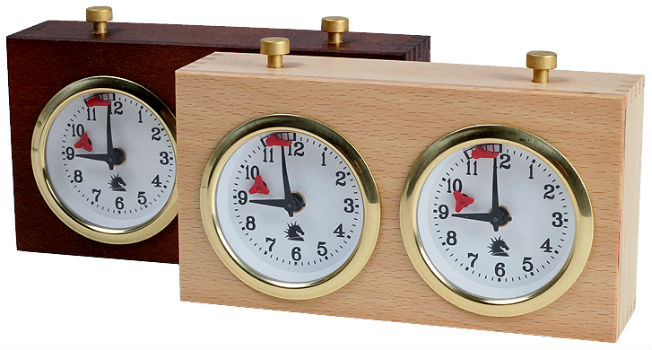 Wooden BHB Analog chess Clocks In 2 Colors