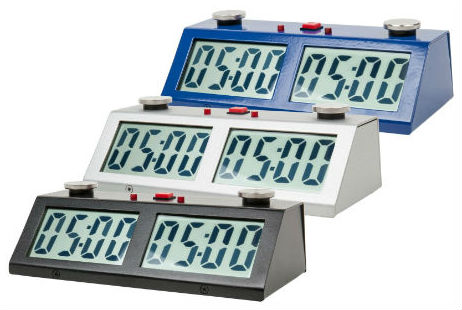 ZMart Pro Digital Chess Clocks - Blue, Silver and Black