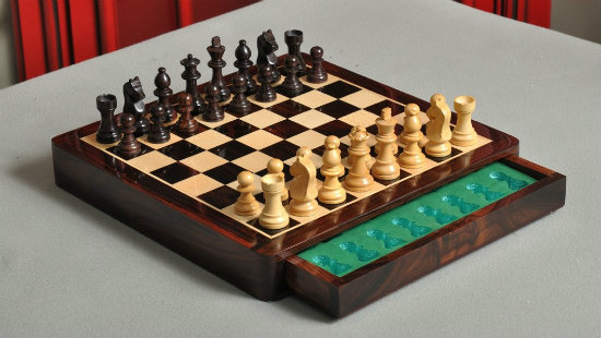 "The 12"" Magnetic Travel Chess Set - Indian Rosewood and Maple"