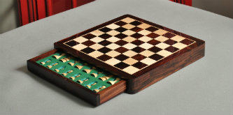 """Wooden Travel Chess Set - 12"""" Square - Indian Rosewood and Maple"""