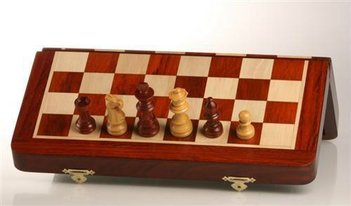 12″ Folding Travel Chess Set in Blood Rosewood/Maple