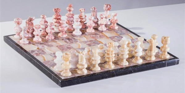 "The 13"" Onyx Chess Set - Pink & Swirled White"