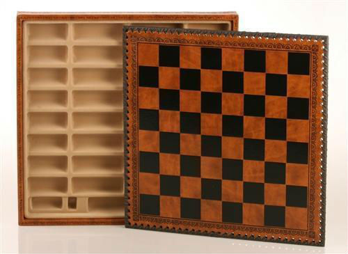 "14"" Leatherette Cabinet Chess Storage Board"
