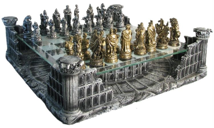 "16"" Pewter & Glass 3D Coliseum Chess Set"