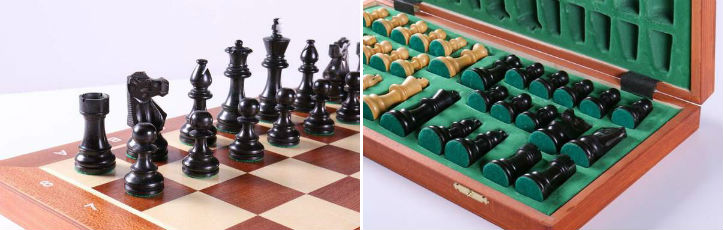 "18.5"" Folding Tournament Chess Set - 3.5"" Black & Boxwood"