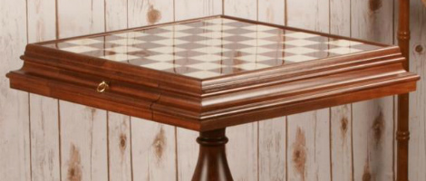 """23.5"""" Antique Alabaster Chess Table"""