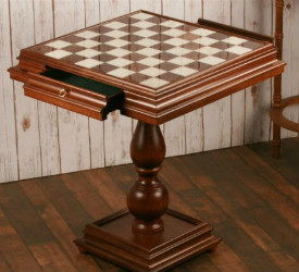 "23.5"" Antique Alabaster Chess Table"