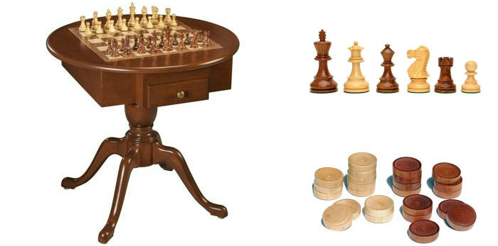 US Made Round Pedestal Wooden Game Table Solid Cherry Wood - 3 in 1