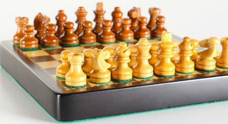"The 4"" Mini Magnetic Wood Pocket Chess Set"