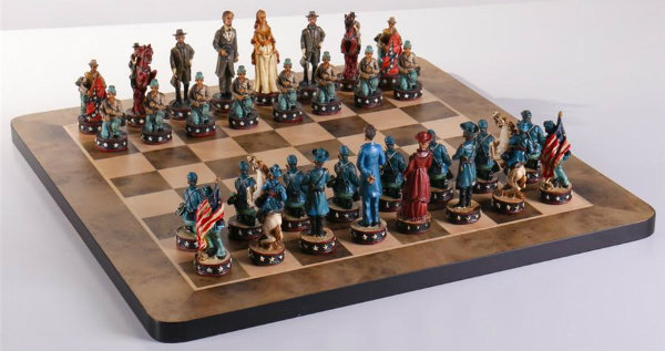 Civil War Chess Set and Matching Gloss Board
