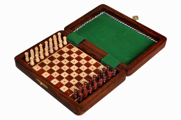 "7"" Pegged Wood Pocket Chess Set"
