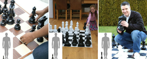 8 inches, 12 inches and 16 inches giant chess sets