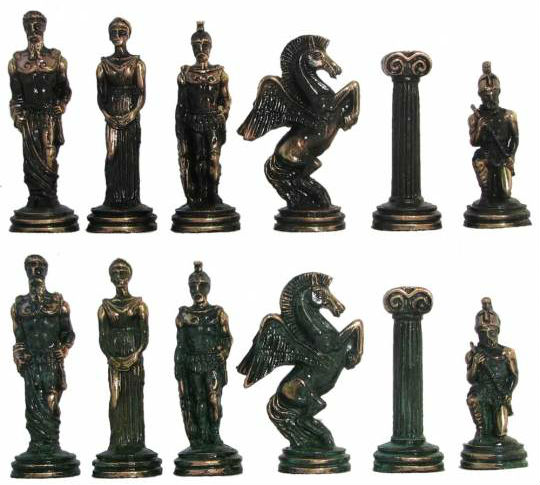The 18″ Agamemnon Greek Oxidized Metal Chess Set Pieces