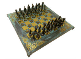 The 18″ Agamemnon Greek Oxidized Metal Chess Set