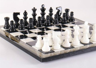 Black & White Alabaster Chess Set with Wood Frame