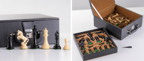 4″ Alexander Staunton Ebony Wood Chess Pieces with box