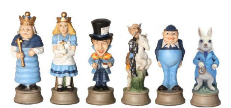 Alice in Wonderland Chess Set Pieces