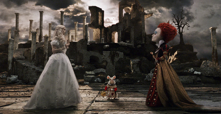 Alice and the Heart Queen from the chess scene in the Alice in Wonderland movie