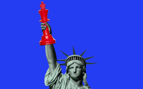 The Statue Of Liberty Holds A Chess King Piece