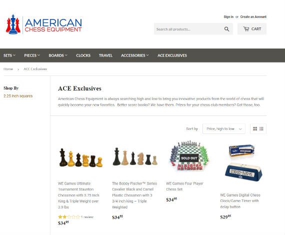 American Chess Equipment Website